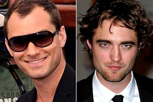 Jude Law and Robert Pattinson looking creepy