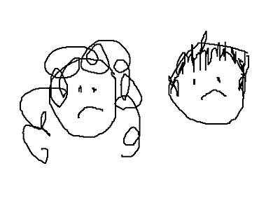 Awesome drawing of Newswithnipples and ManFriend being sad