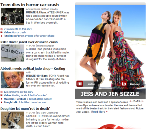 Herald Sun homepage 15 July 2011