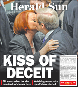 A normal kiss on the cheek becomes THE END OF THE WORLD at the Herald Sun