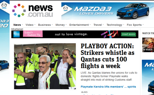 A former playmate near striking Qantas workers is Big News at news.com.au
