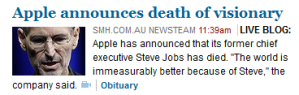 Smh.com.au also feels the need to live blog a death