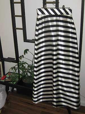 black and white satin skirt
