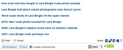 Links in Daily Telegraph's Lara Bingle story