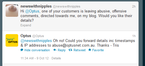 Tweet from NWN about abusive Optus customer and the prompt reply from Optus