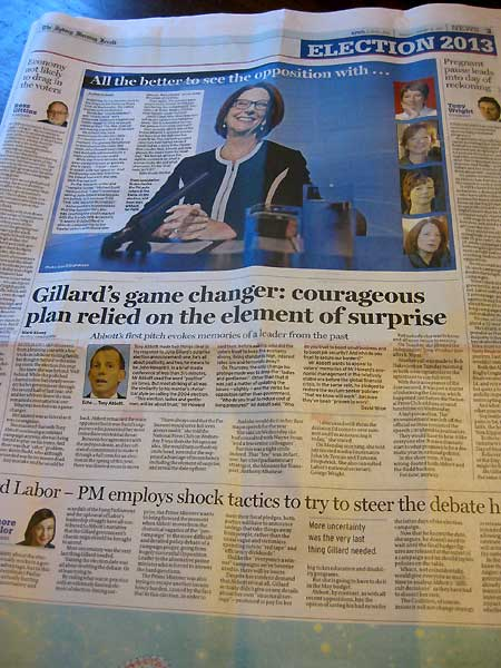 Story about Julia Gillard's glasses in the Sydney Morning Herald