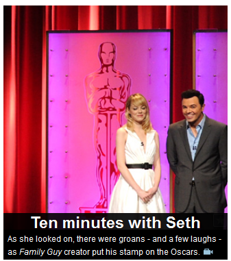 Main image on smh.com.au homepage, featuring Emma Stone and Seth Macfarlane