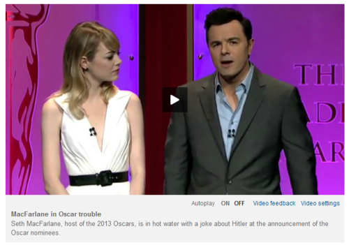 Image of Emma Stone and Seth Macfarlane to illustrate video of Oscars nominations