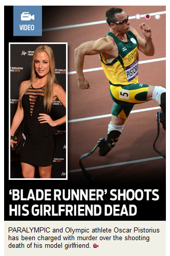 The caption reads: Paralympic and Olympic athlete Oscar Pistorius has been charged with murder over the shooting death of his model girlfriend.
