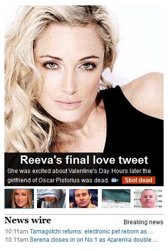 The caption reads: Reeva's final love tweet: She was excited about Valentine's Day. Hours later the girlfriend of Oscar Pistorius was dead.