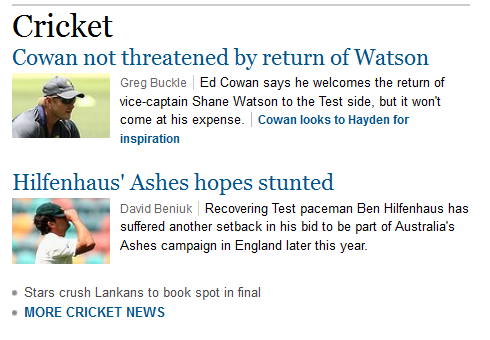The value given by smh.com.au/sport to the women's cricket team being in the world cup final.