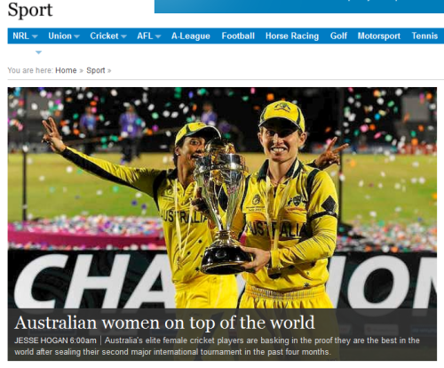 Smh.com.au/sport coverage of the Southern Stars winning the World Cup early this morning