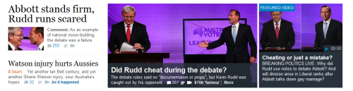 Coverage of last night's debate between Kevin Rudd and Tony Abbott on smh.com.au.