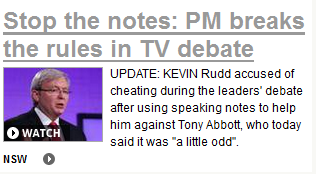 How dailytelegraph.com.au started their coverage of the debate.
