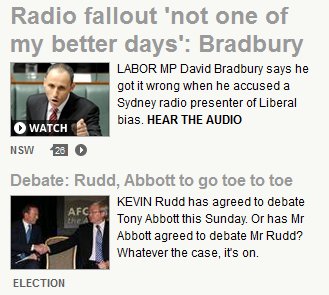 Two election stories on dailytelegraph.com.au